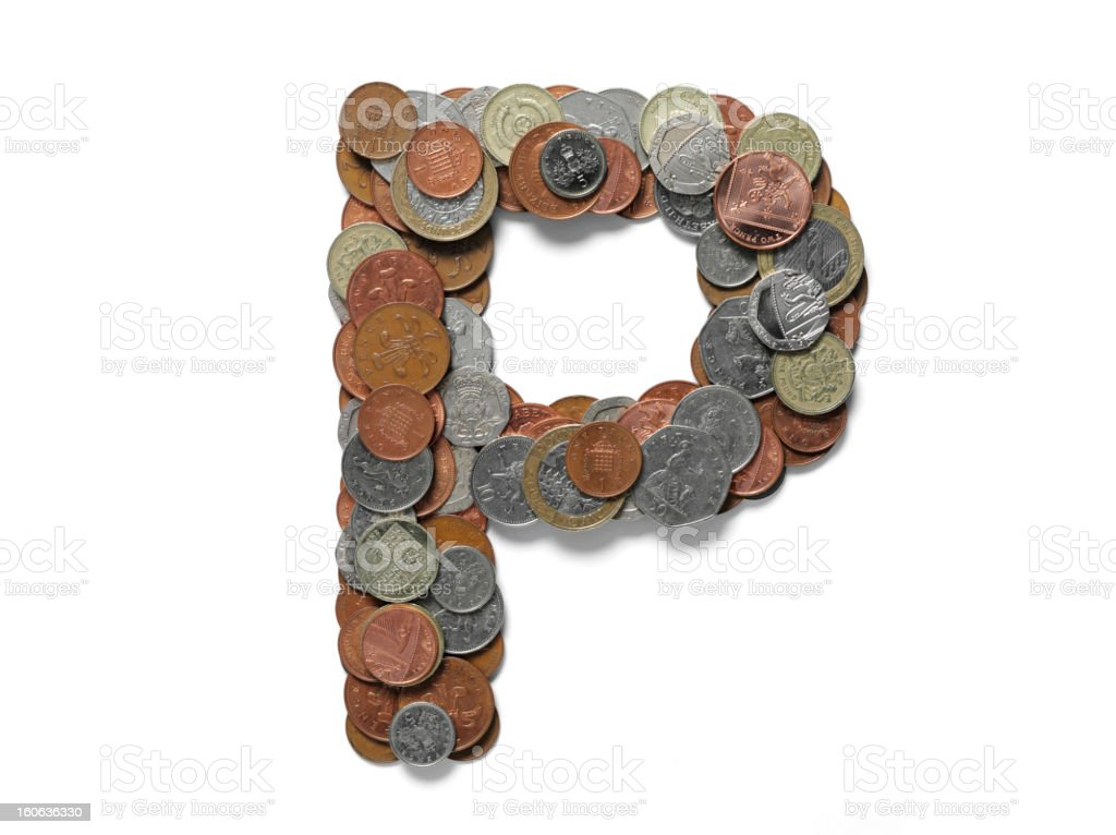 Letter P in British Pounds royalty-free stock photo
