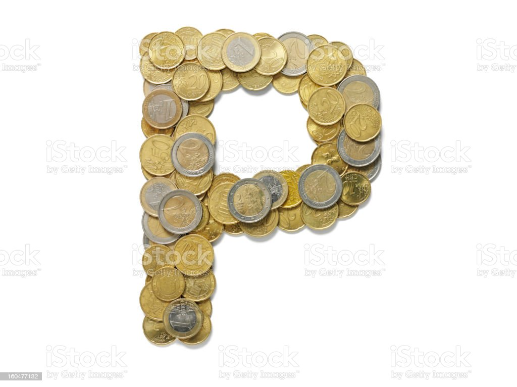Letter P in Euros royalty-free stock photo