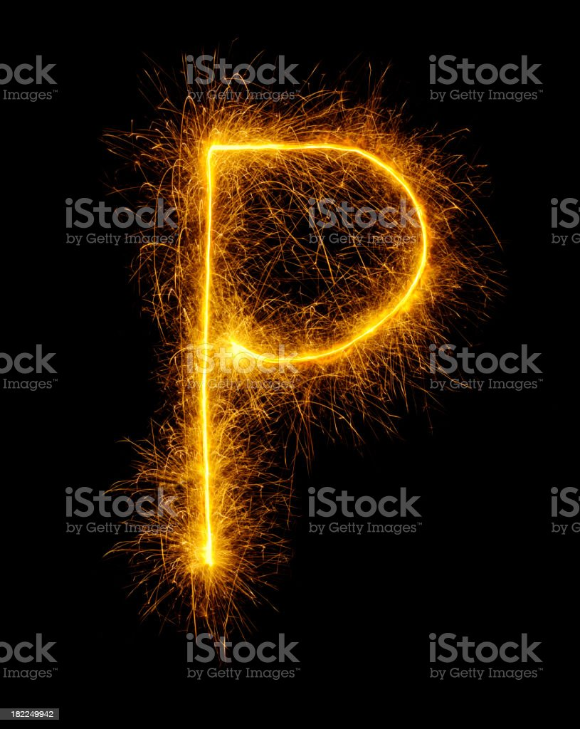 Letter P in Fireworks royalty-free stock photo