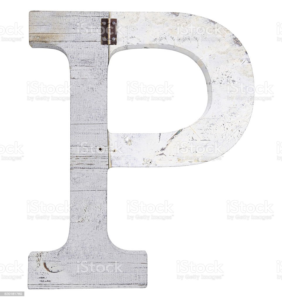 letter p isolated on white background stock photo
