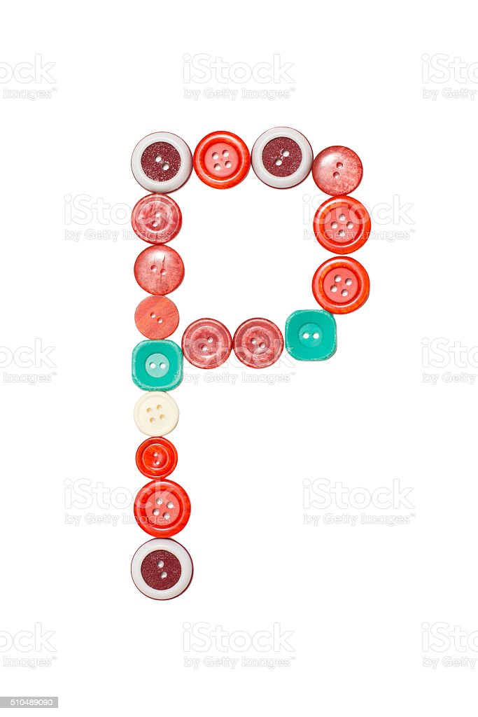 letter P made of colors buttons stock photo