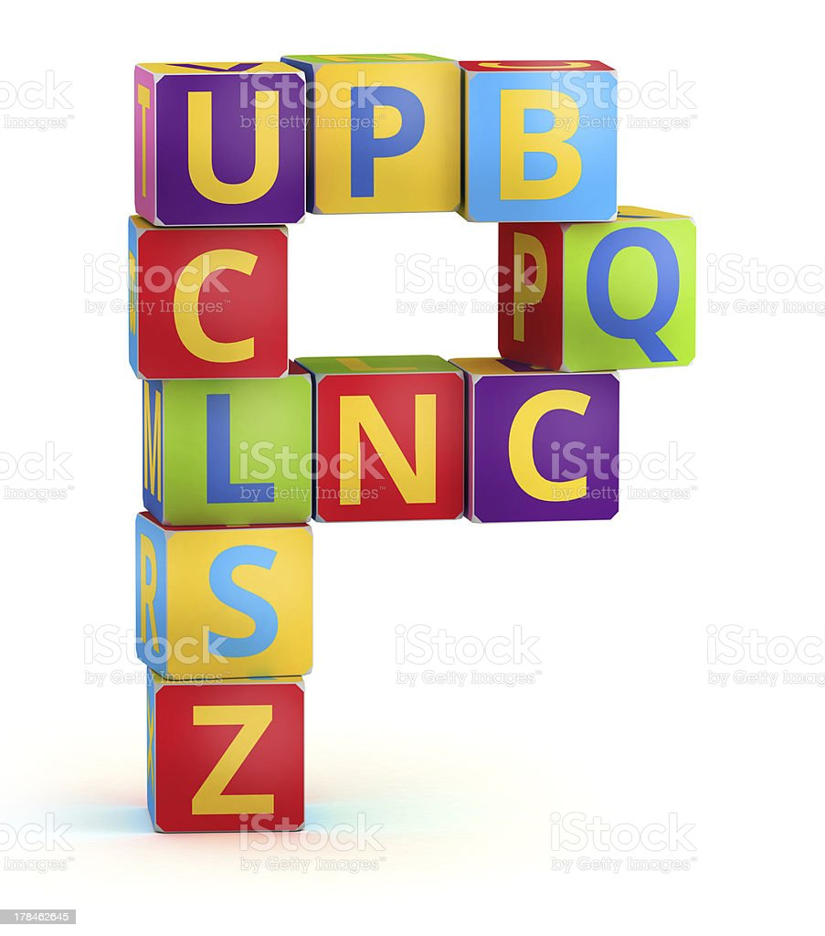 Letter P maked from abc cubes royalty-free stock photo