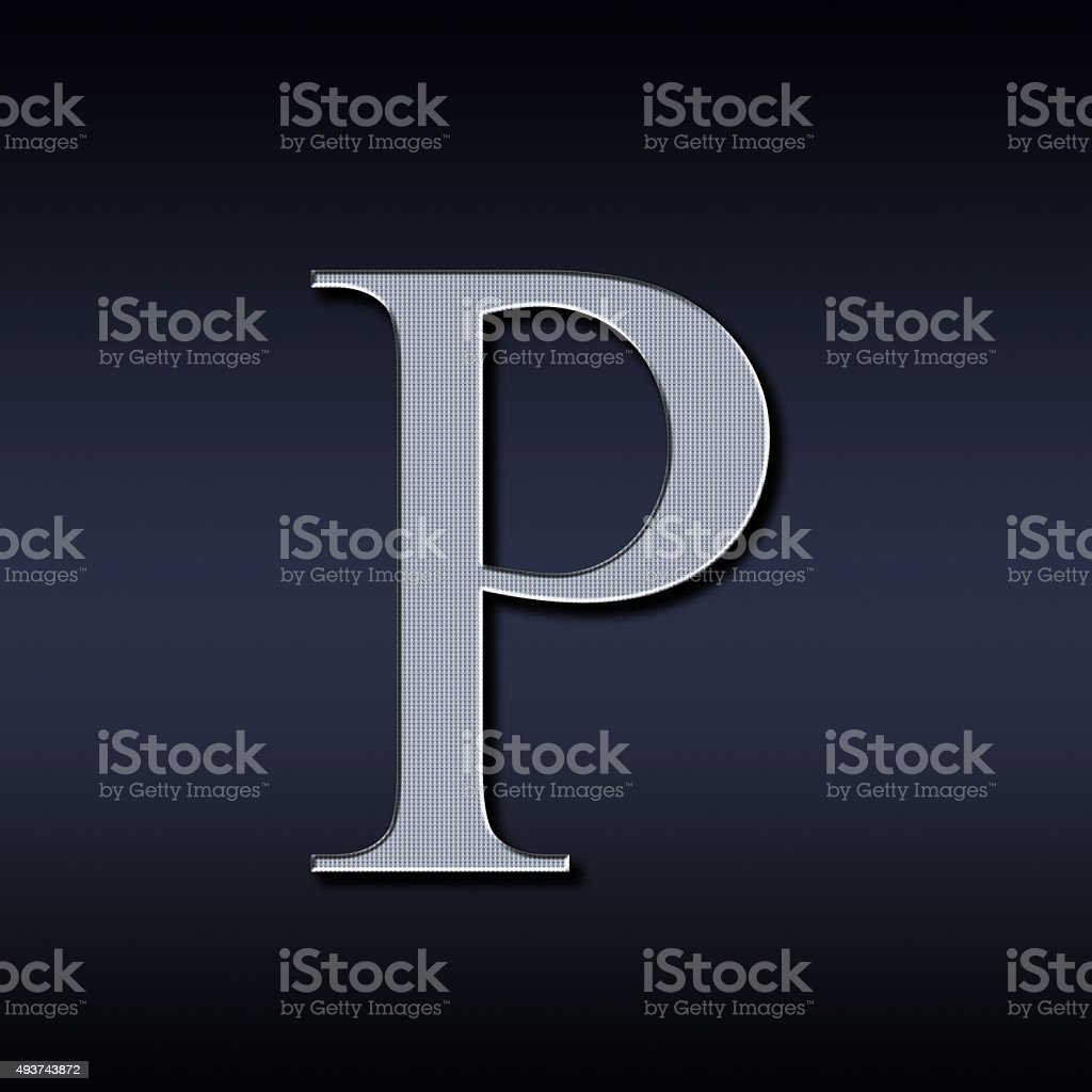 letter P on a black background stock photo
