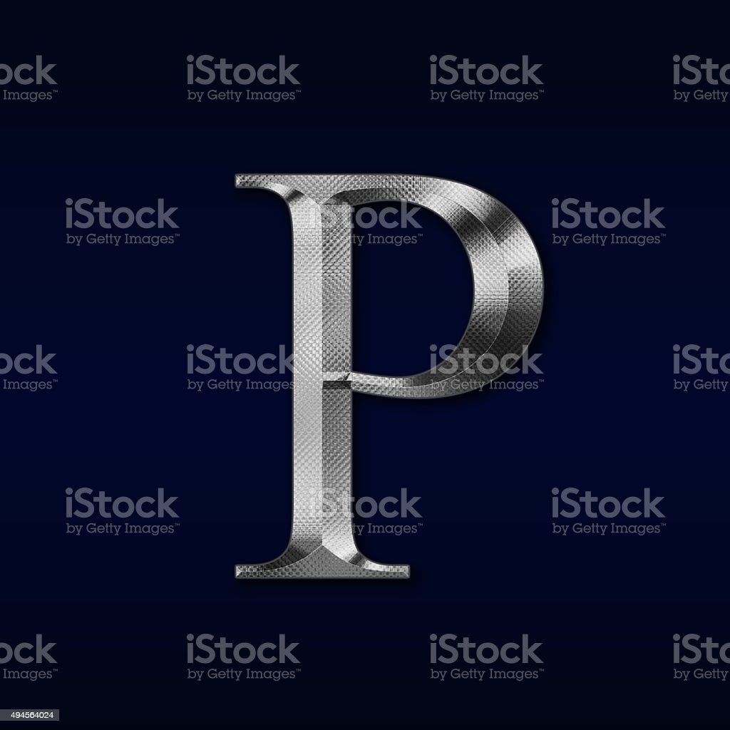 letter 'P' on a black background stock photo