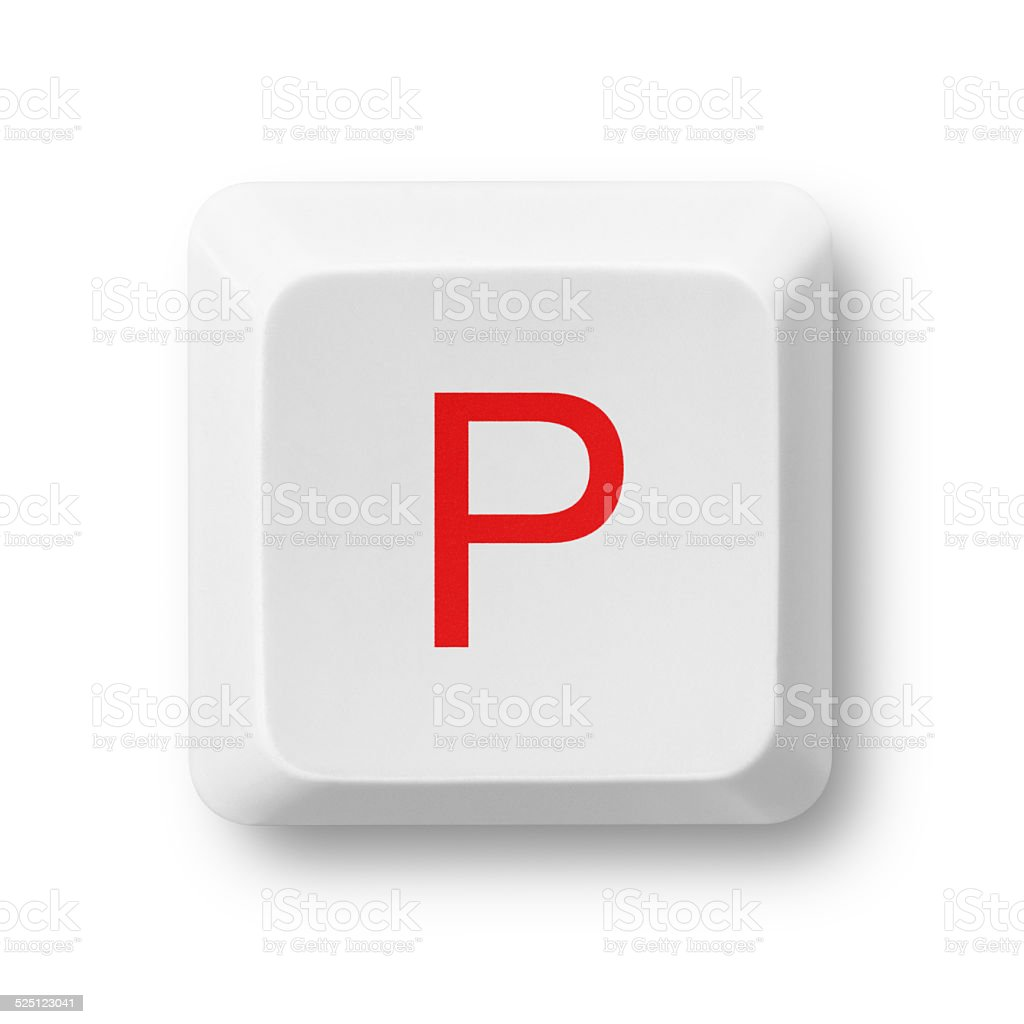 Letter P on a computer key isolated on white stock photo