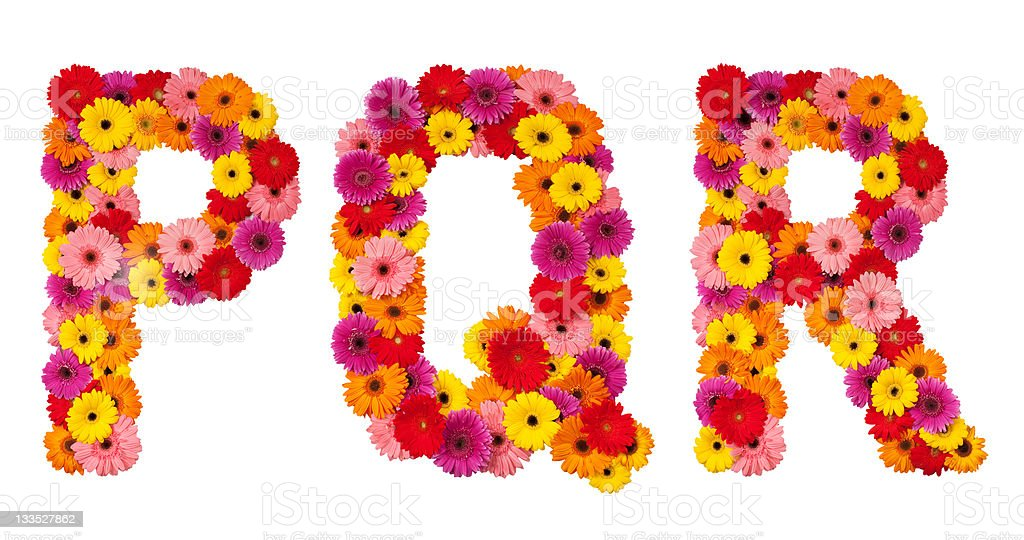 Letter P Q R - flower alphabet isolated on white royalty-free stock photo