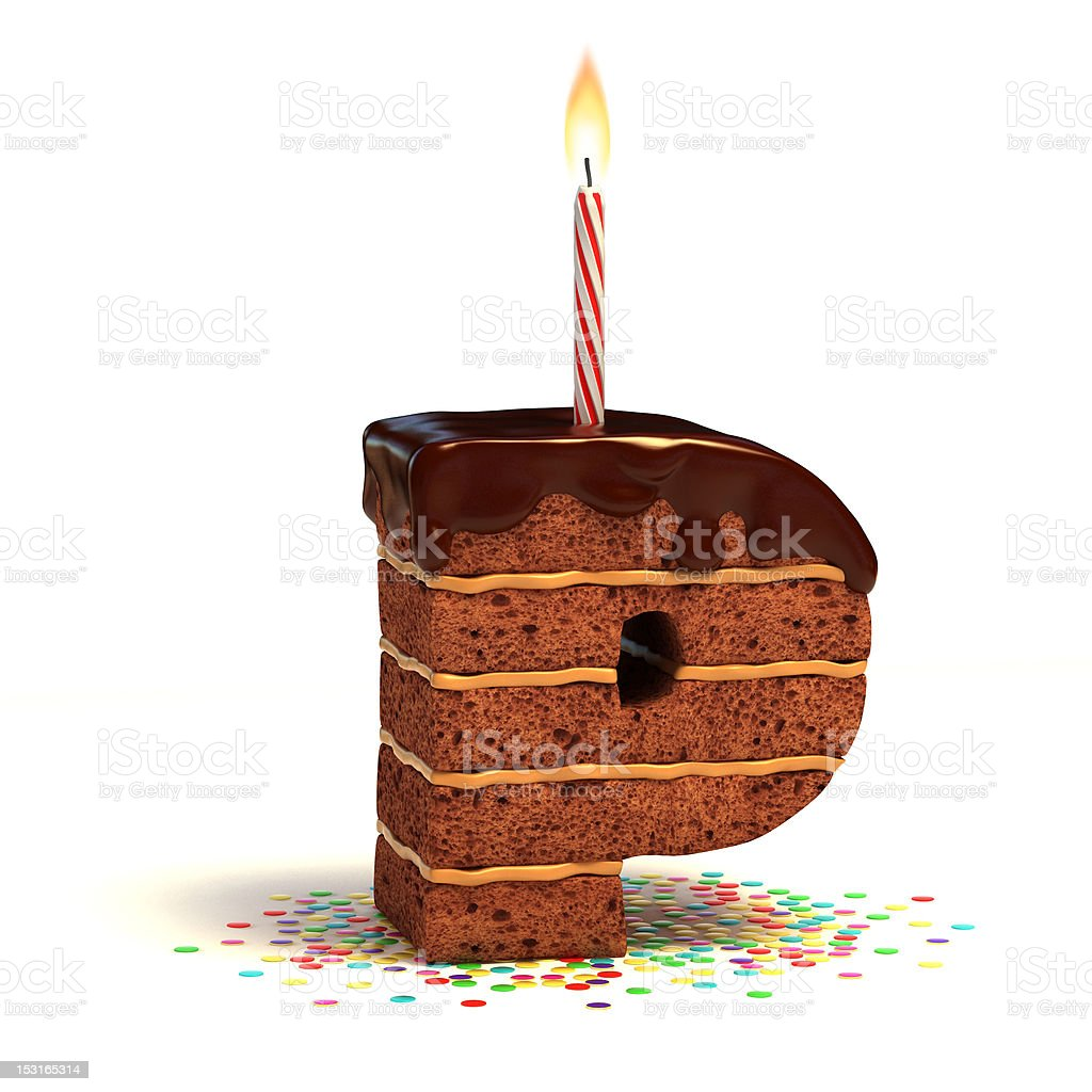 letter P shaped chocolate cake royalty-free stock photo