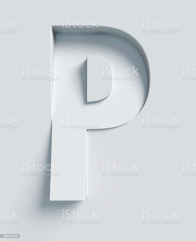 Letter P slanted 3d font engraved and extruded from surface stock photo
