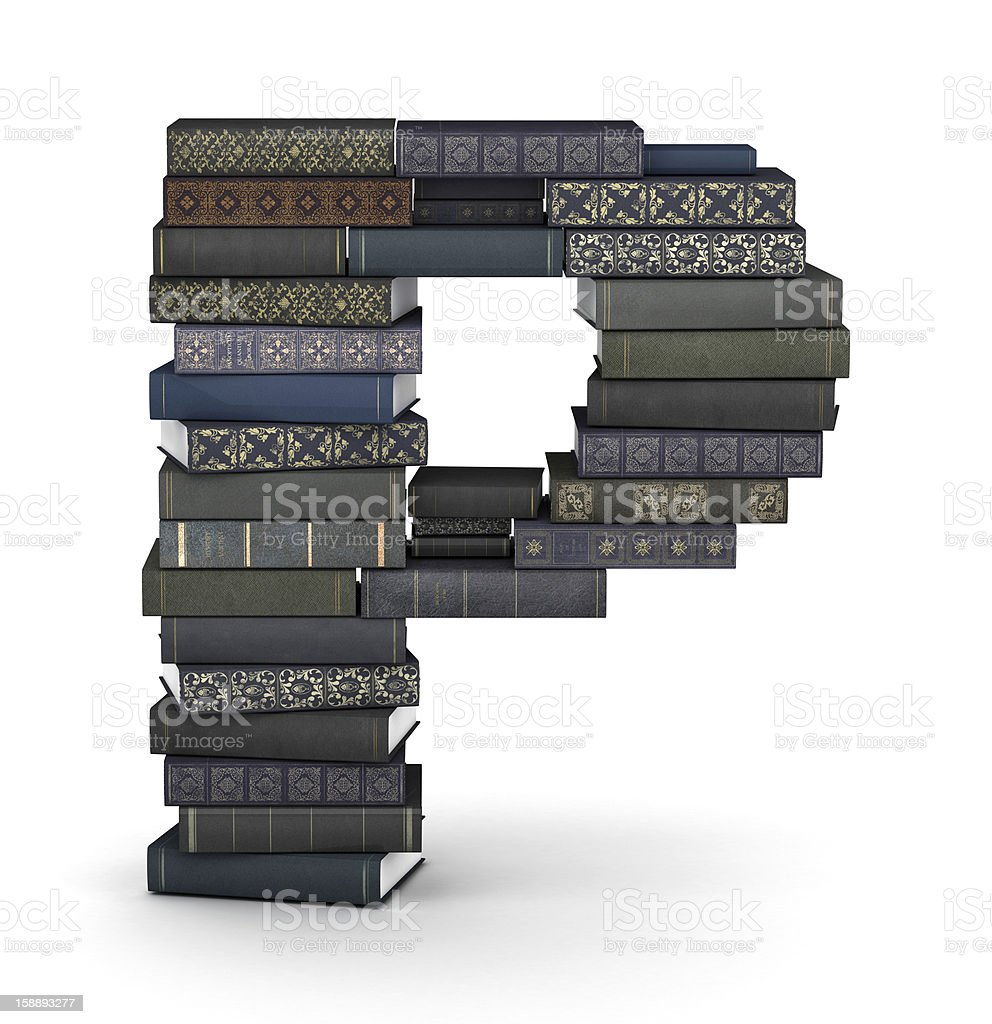 Letter P, stack of books royalty-free stock photo