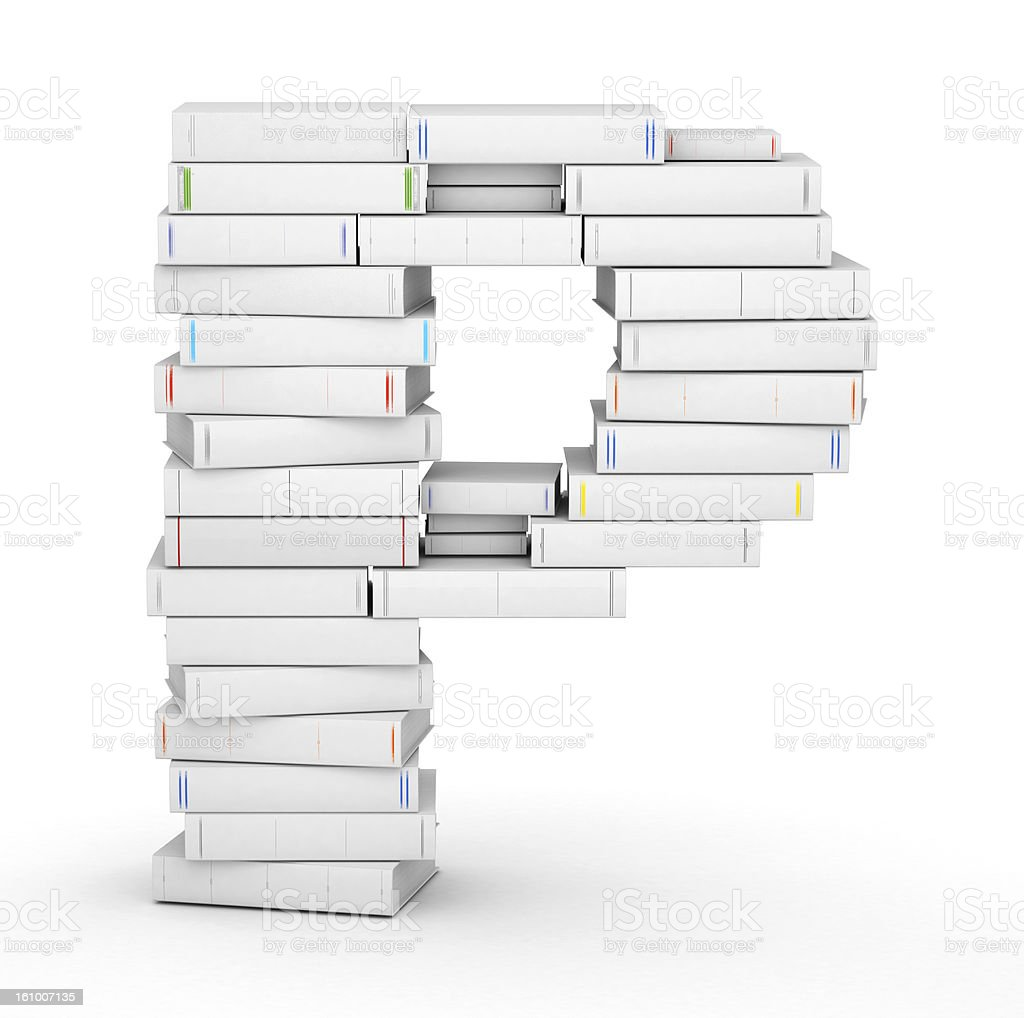Letter P, stacked from blank books royalty-free stock photo