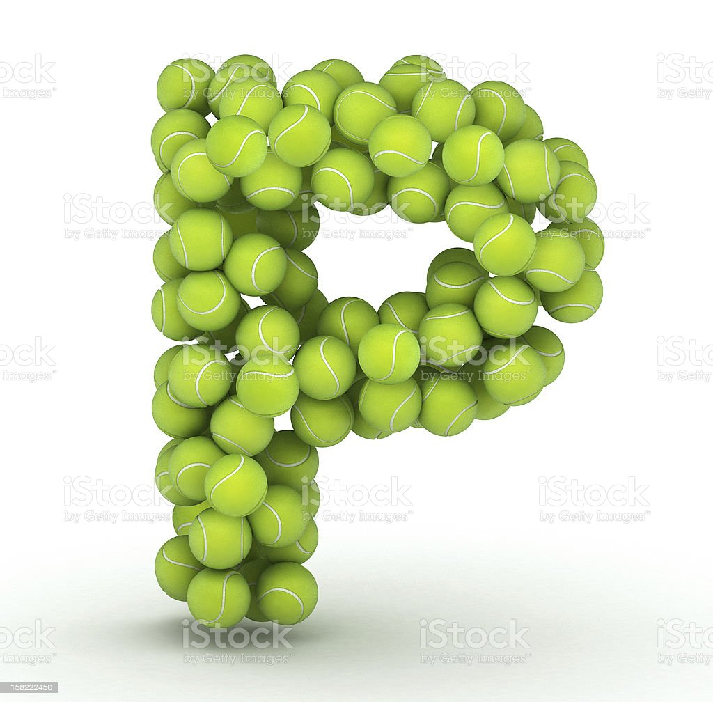 Letter P, tennis balls alphabet royalty-free stock photo