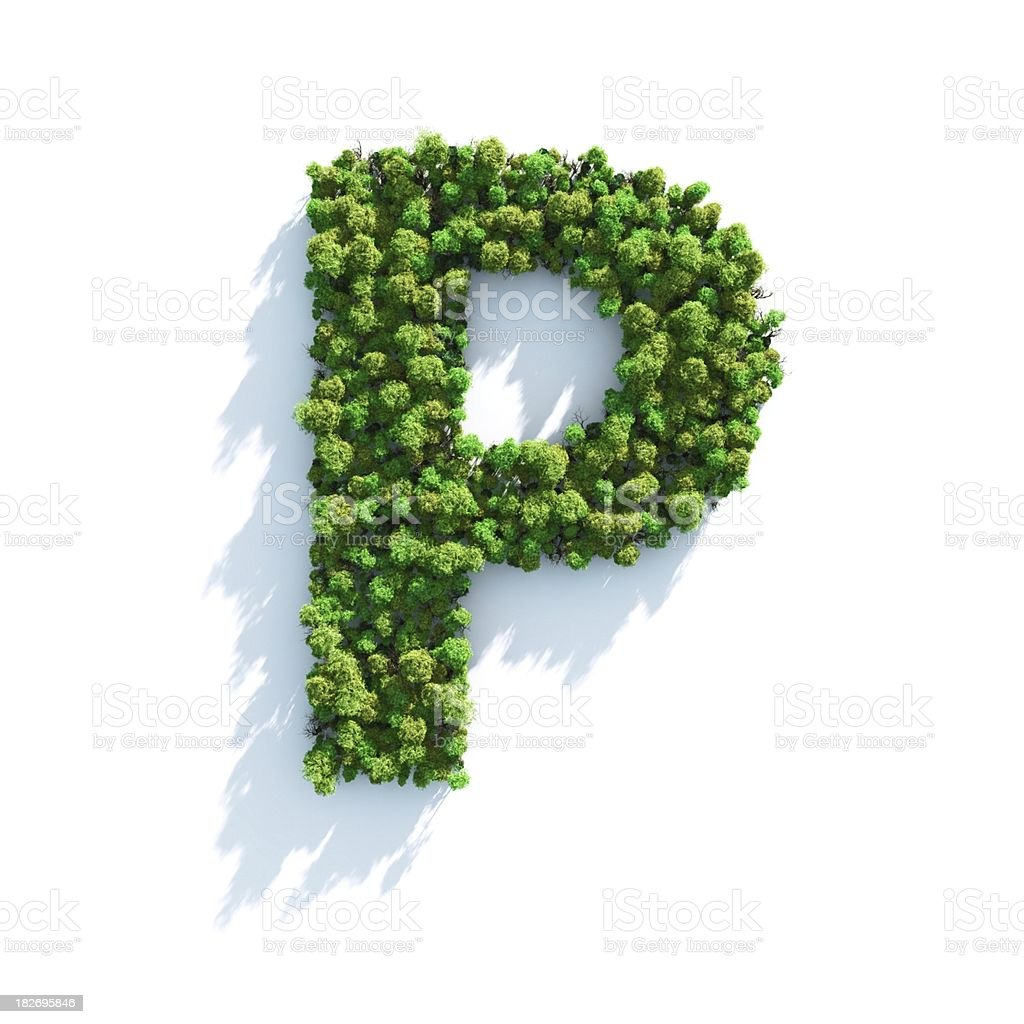 Letter P: Top View stock photo