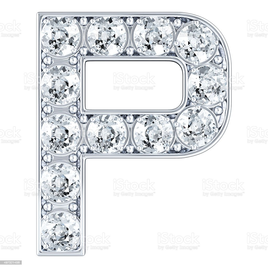 Letter P With Diamonds stock photo