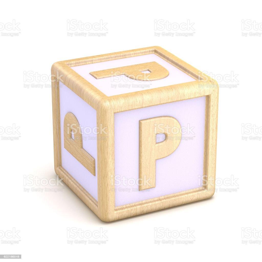 Letter P  wooden alphabet blocks font rotated. 3D stock photo