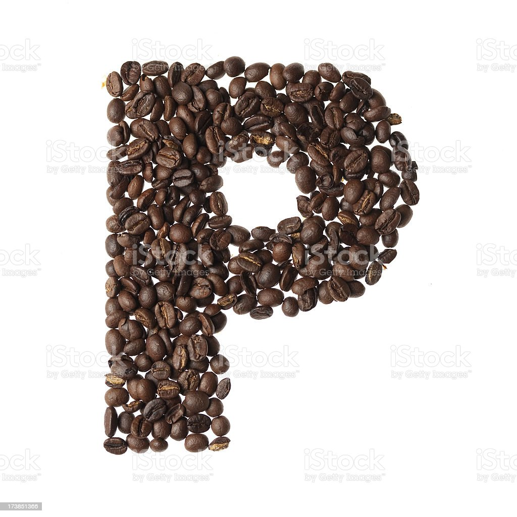 Letter P written with coffee royalty-free stock photo