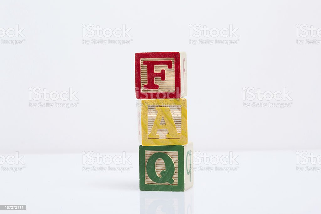 FAQ Letter (Colorful Wooden Cubes Words Series) royalty-free stock photo