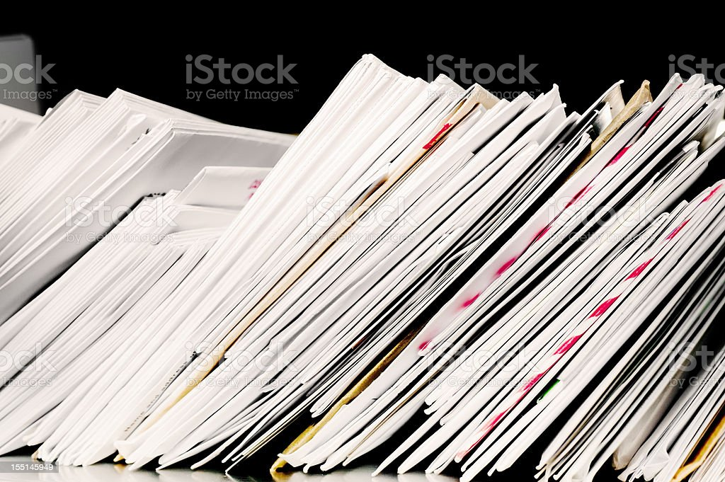 Letter post with stacks of incoming and outgoing mail stock photo