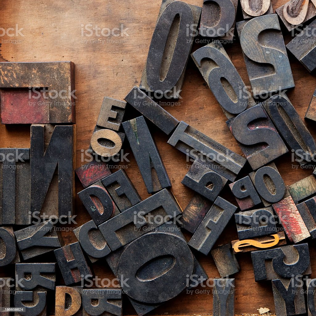 Letter Press Blocks against Wood royalty-free stock photo