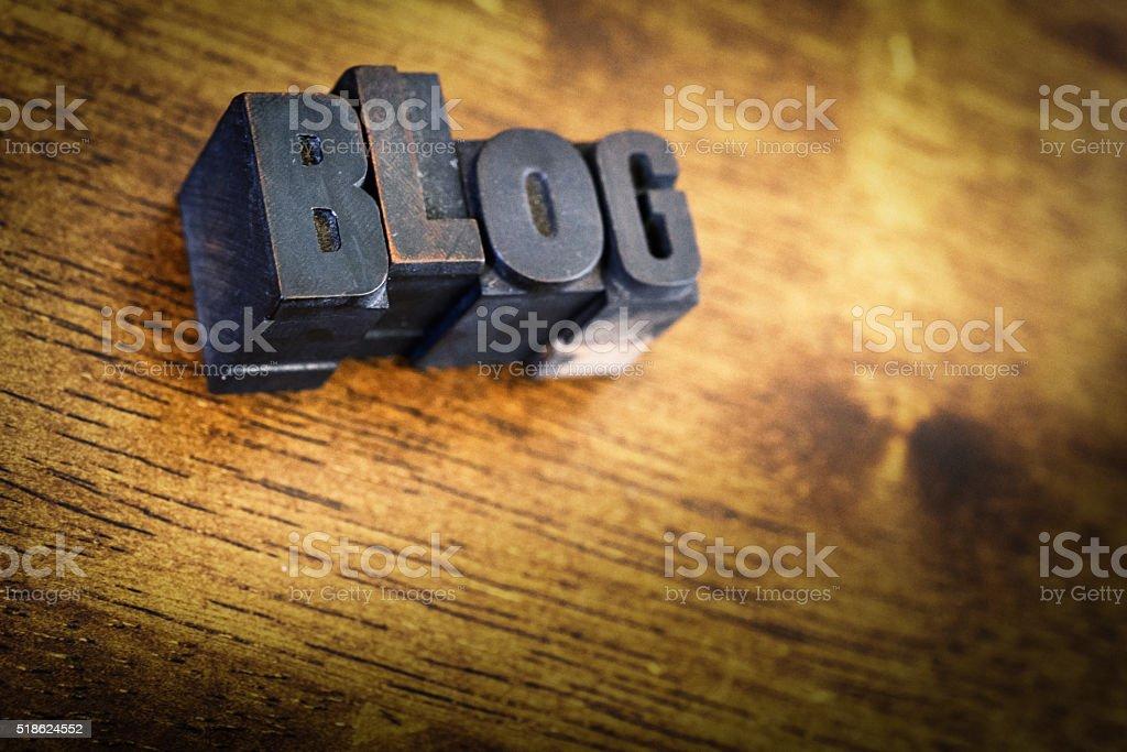 Letter Press Blocks spelling the word Blog stock photo