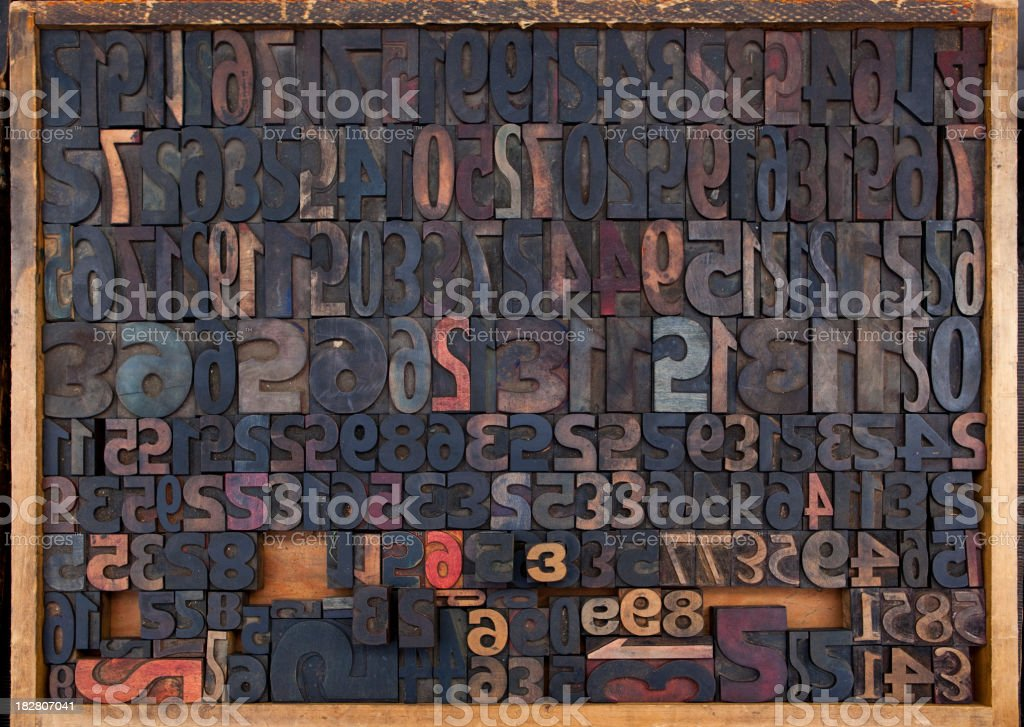 Letter Press Numeric Composition royalty-free stock photo