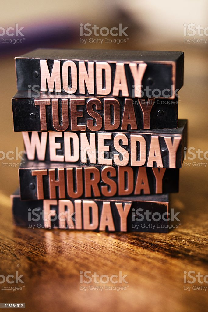 Letter Press Typescript Days of the Week Stacked stock photo