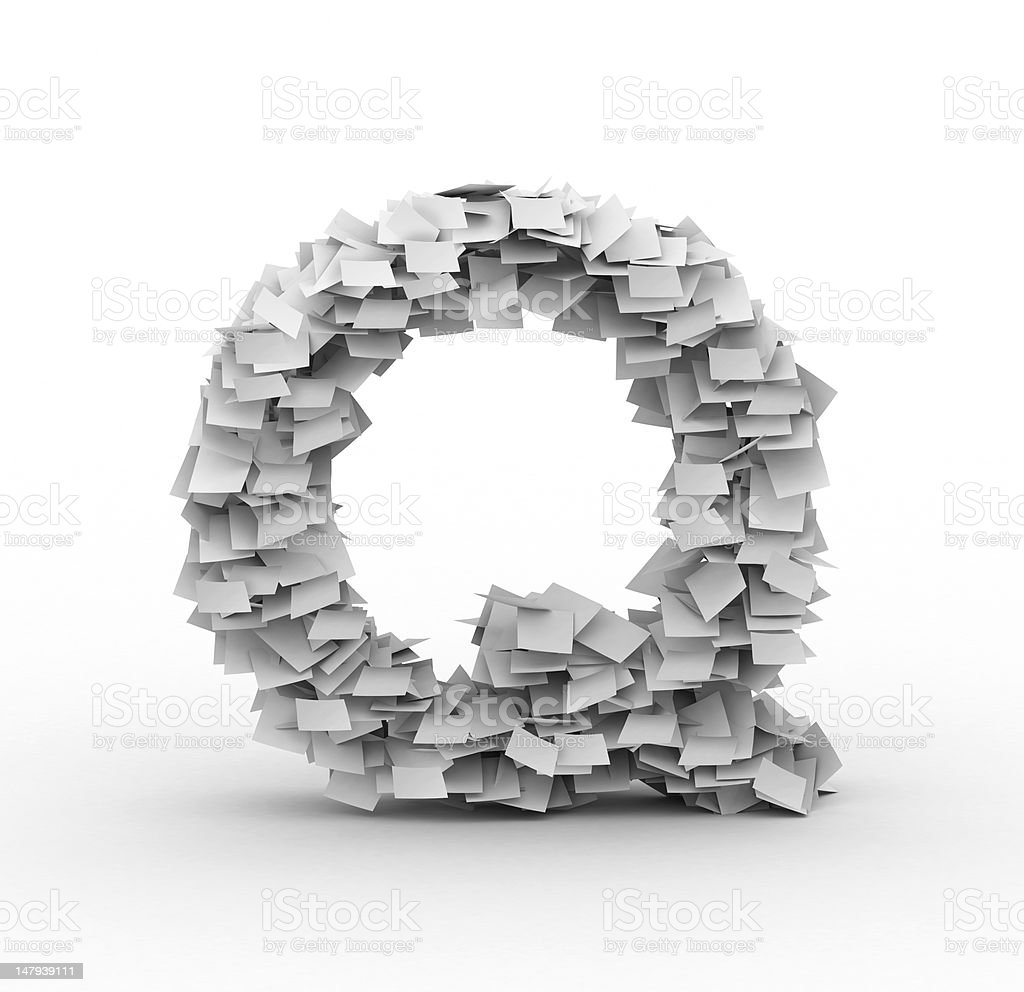 Letter Q, stacked from paper sheets royalty-free stock photo