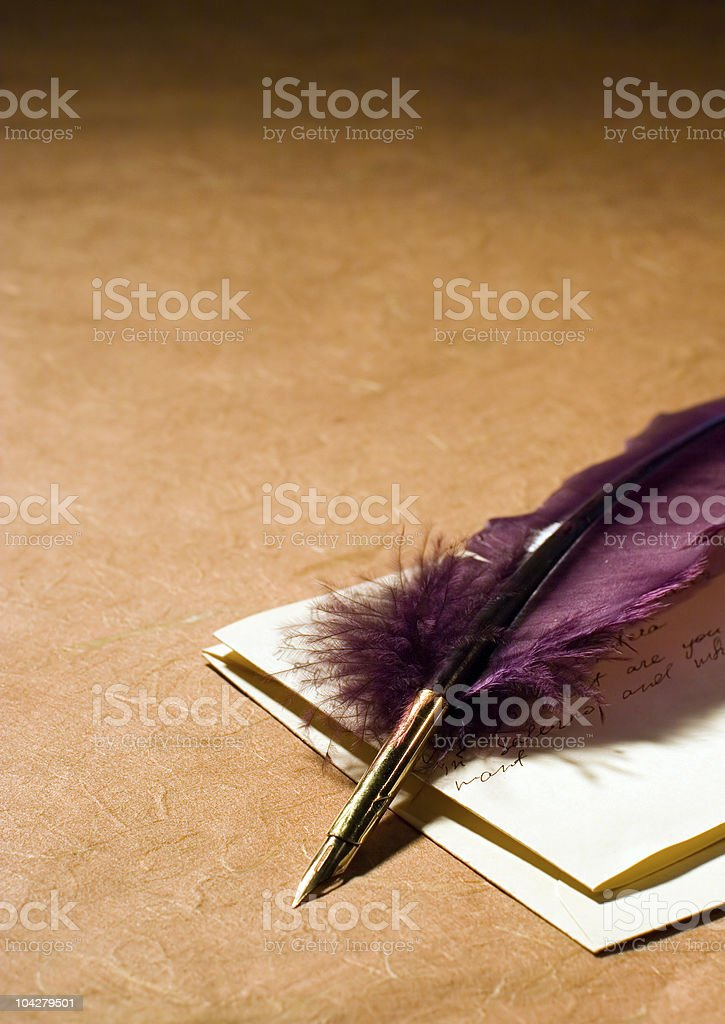 Letter & Quill royalty-free stock photo