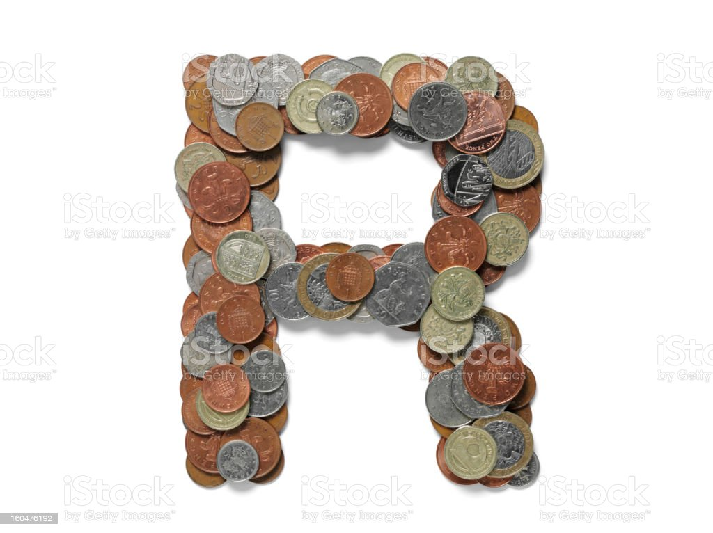 Letter R in British Currency royalty-free stock photo