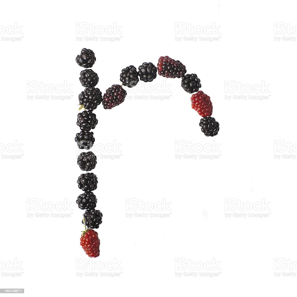 Letter R made ​​up of blackberries royalty-free stock photo