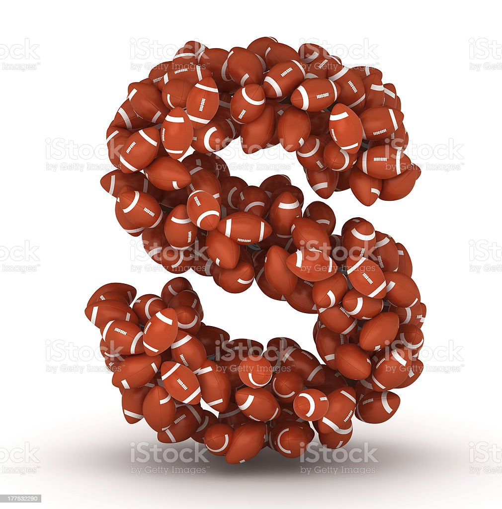 Letter S, american football alphabet royalty-free stock photo