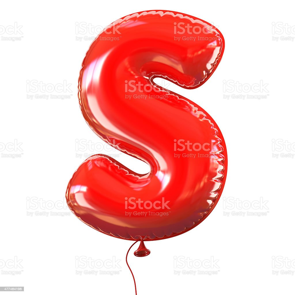 Letter S balloon font stock photo
