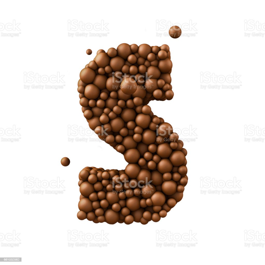 Letter S made of chocolate bubbles, milk chocolate concept, 3d render stock photo