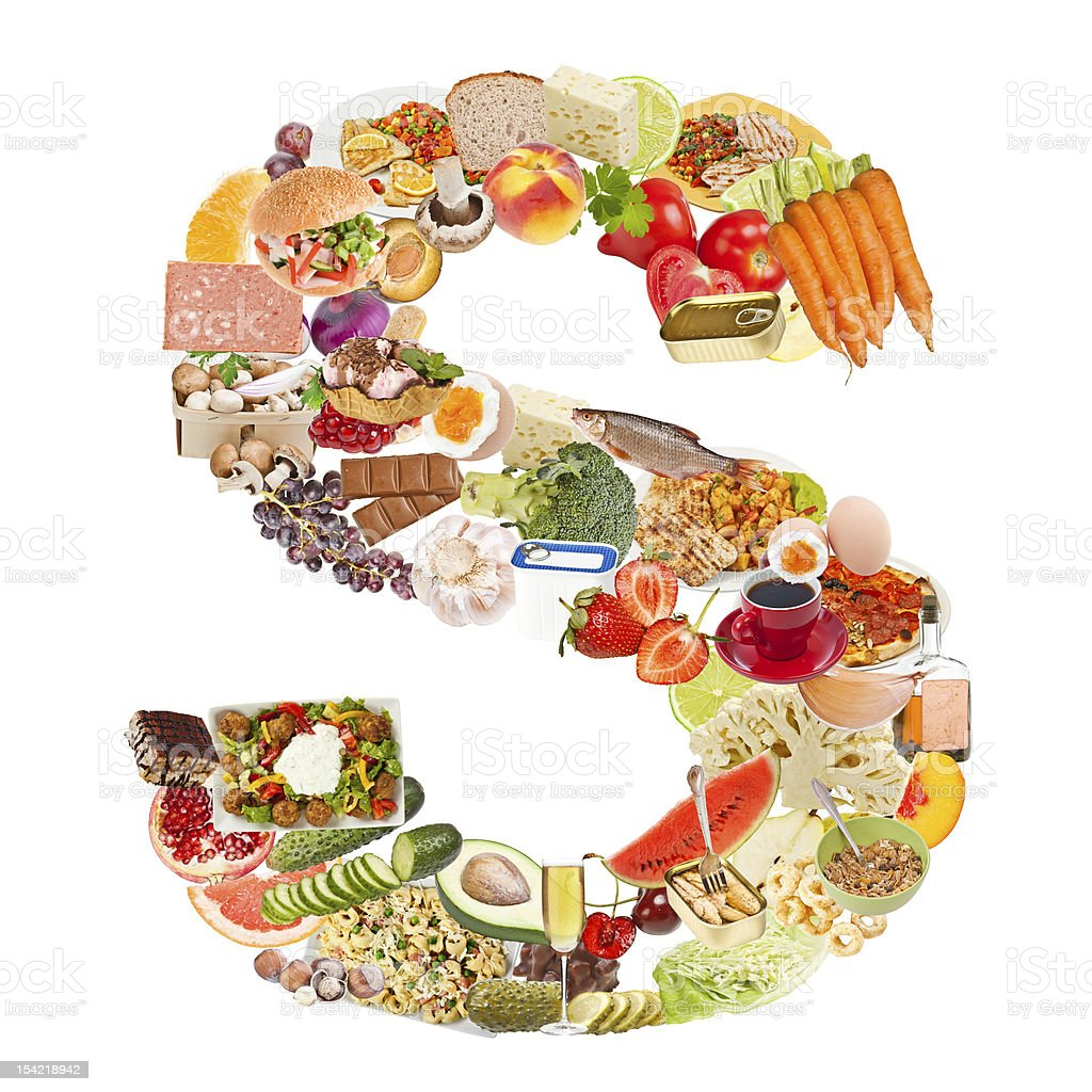 Letter S made of food royalty-free stock photo