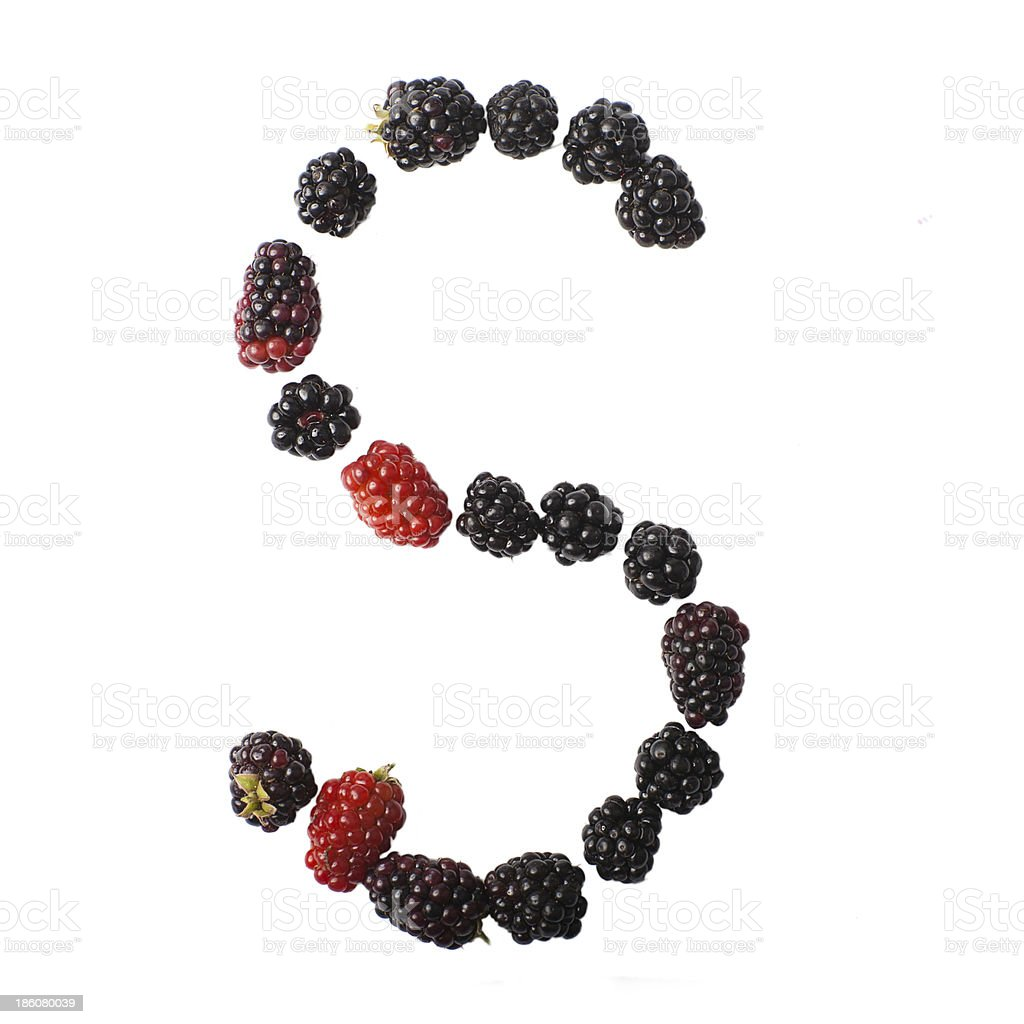 Letter S made up of blackberries royalty-free stock photo
