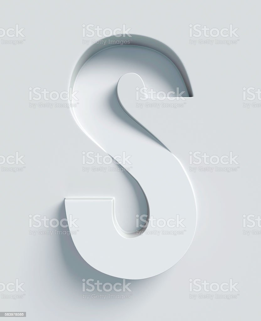 Letter S slanted 3d font engraved and extruded from surface stock photo
