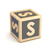 Letter S wooden alphabet blocks font rotated. 3D