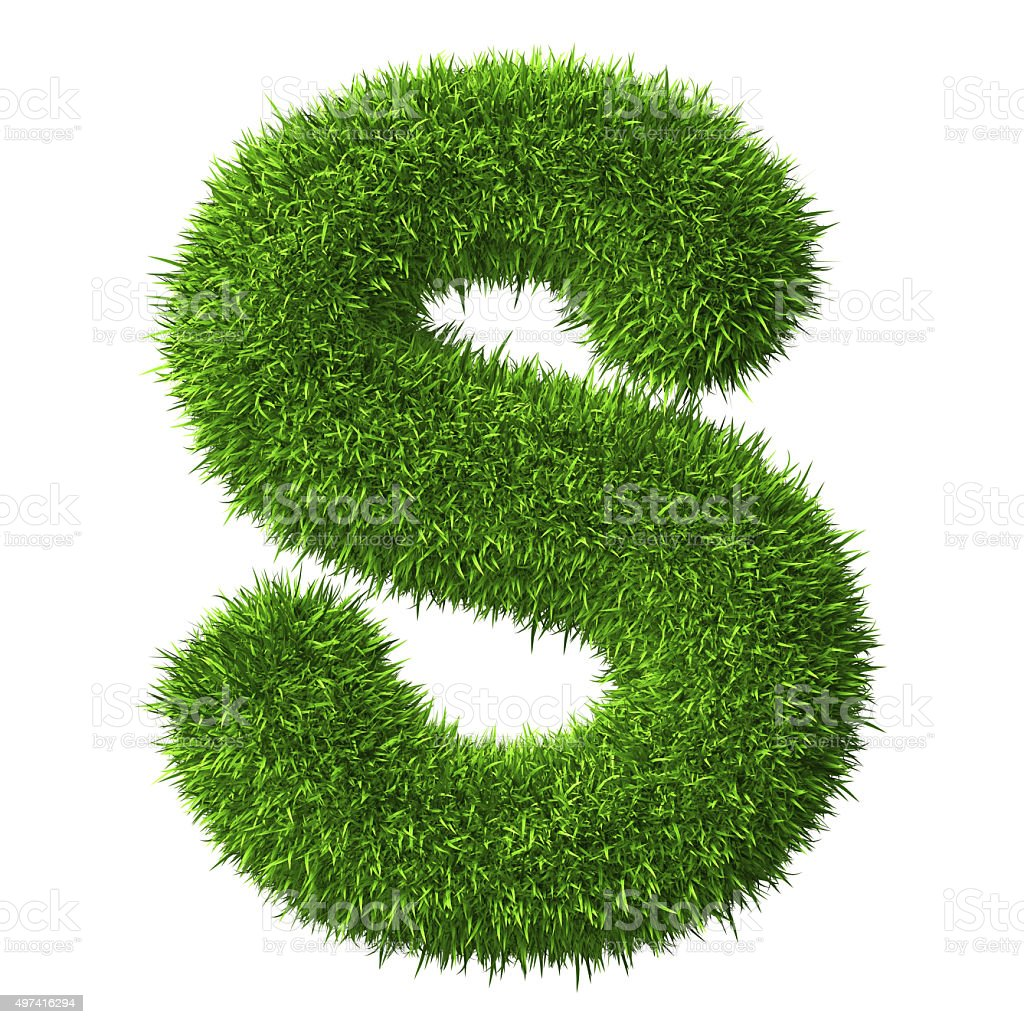 Letter Sof grass stock photo