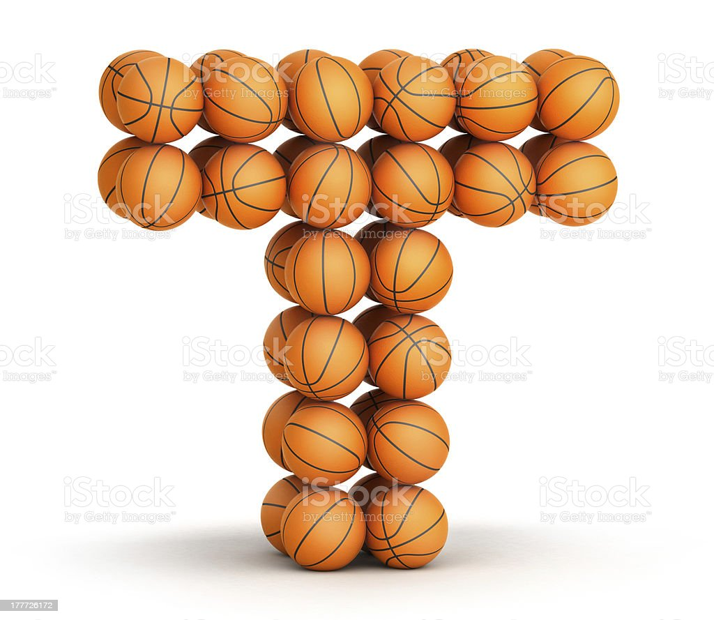 Letter  T  basketball royalty-free stock photo
