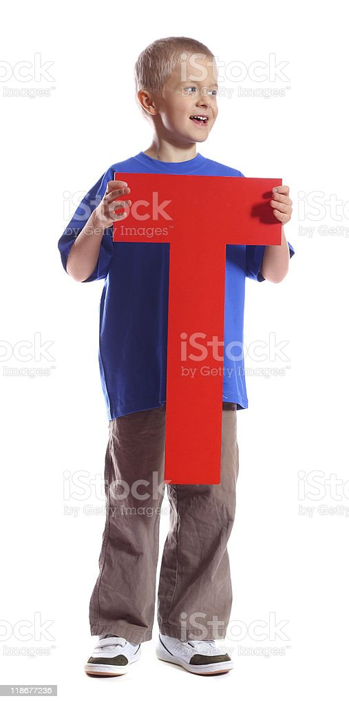Letter 'T' boy stock photo