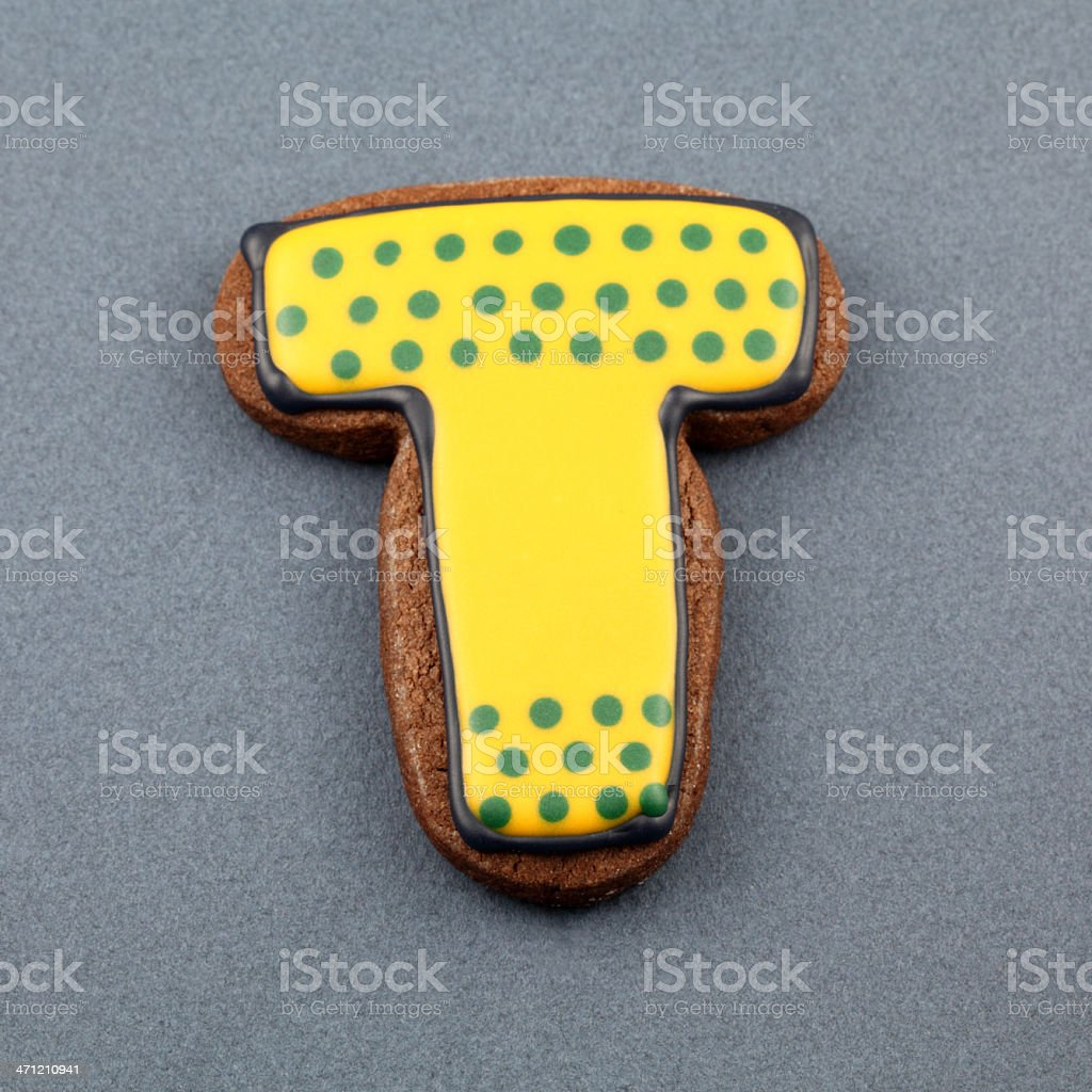 Letter T Cookie royalty-free stock photo