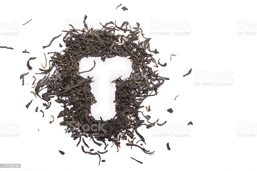 Letter T embedded by tea stock photo