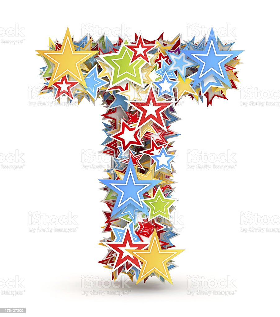 Letter T from colored stars royalty-free stock photo