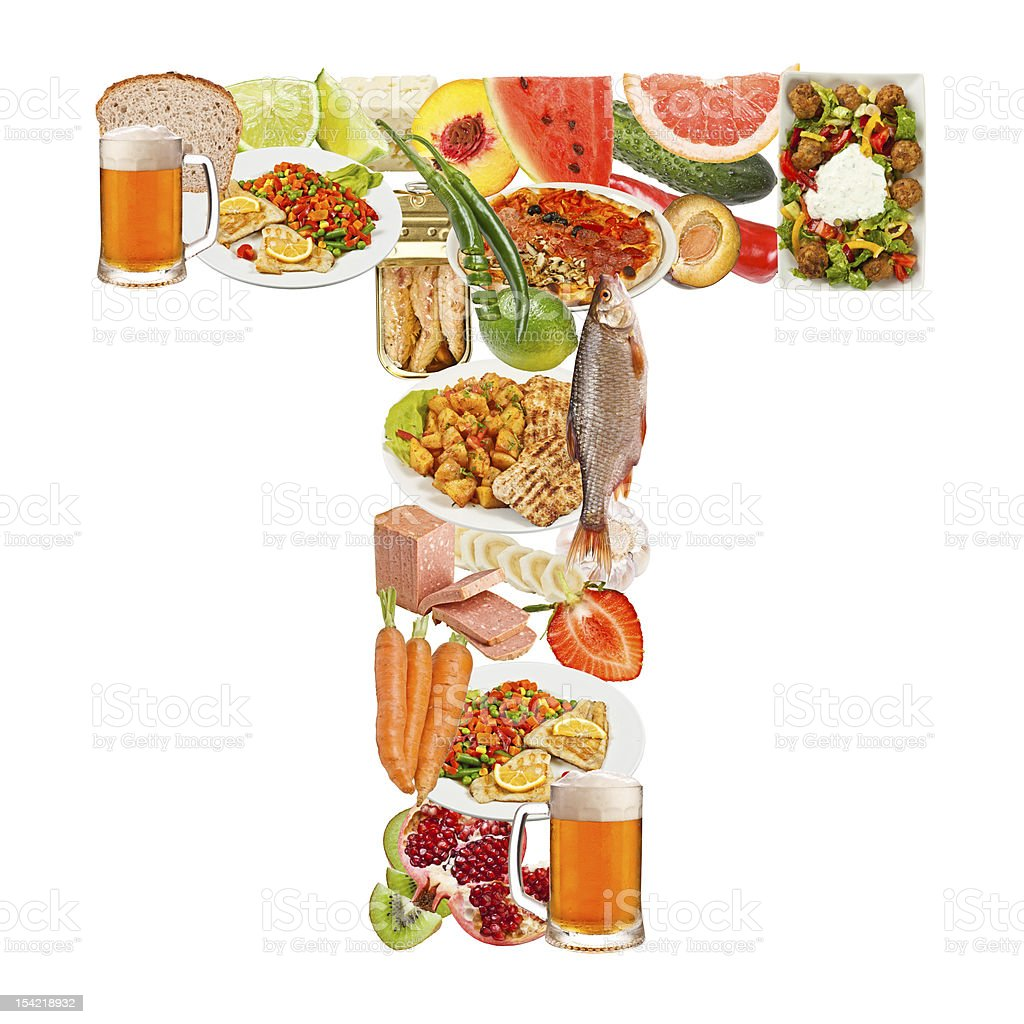 Letter T made of food royalty-free stock photo