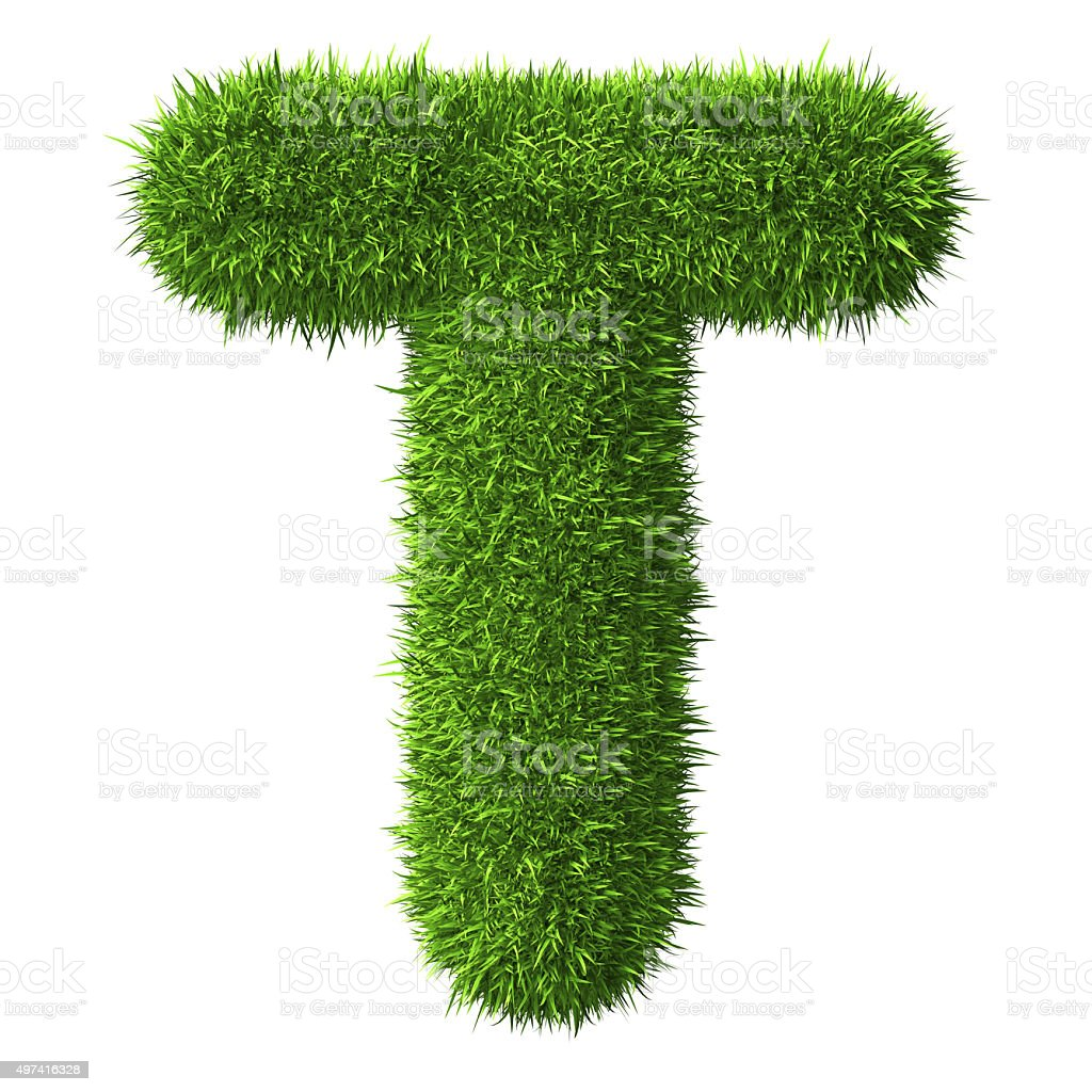 Letter T of grass stock photo