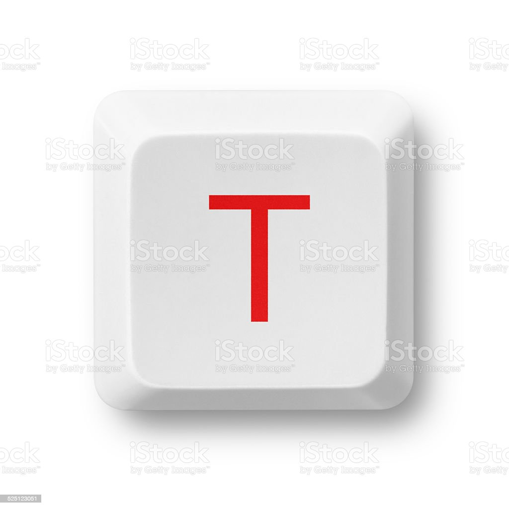 Letter T on a computer key isolated on white stock photo