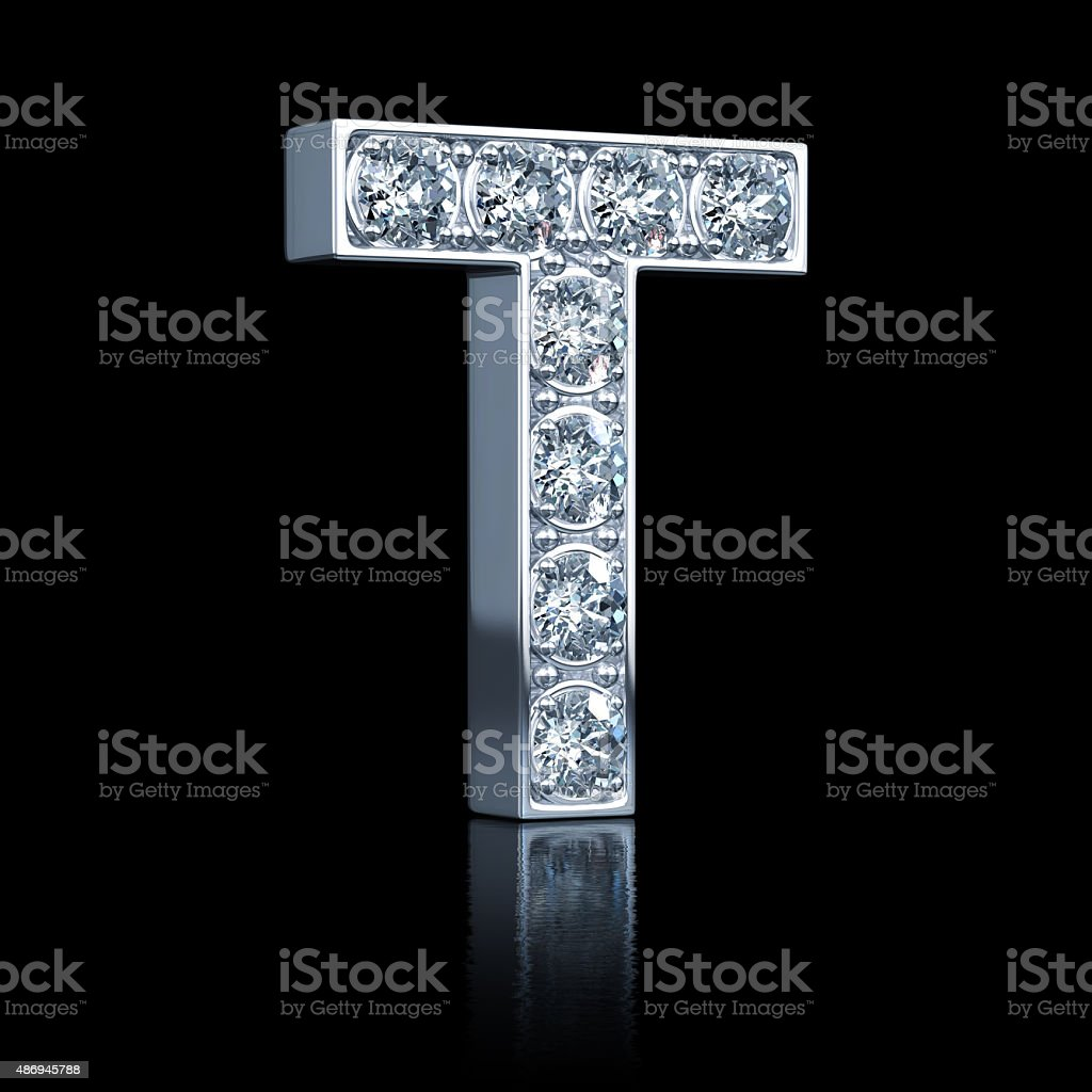 Letter T With Diamonds stock photo
