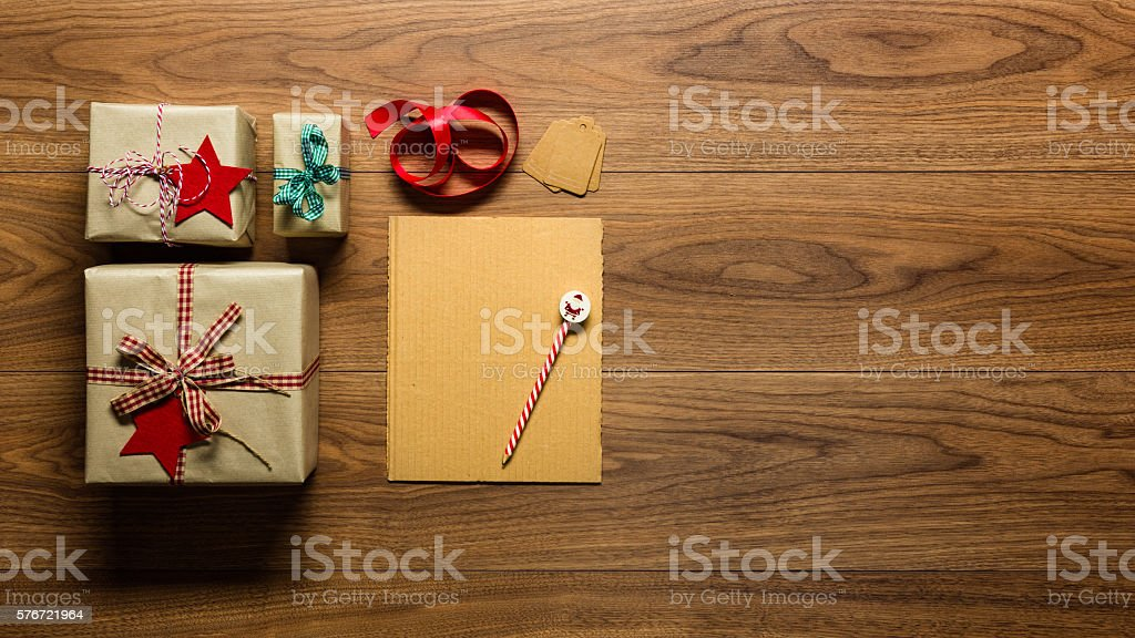 letter to santa and presents, retro xmas concept stock photo