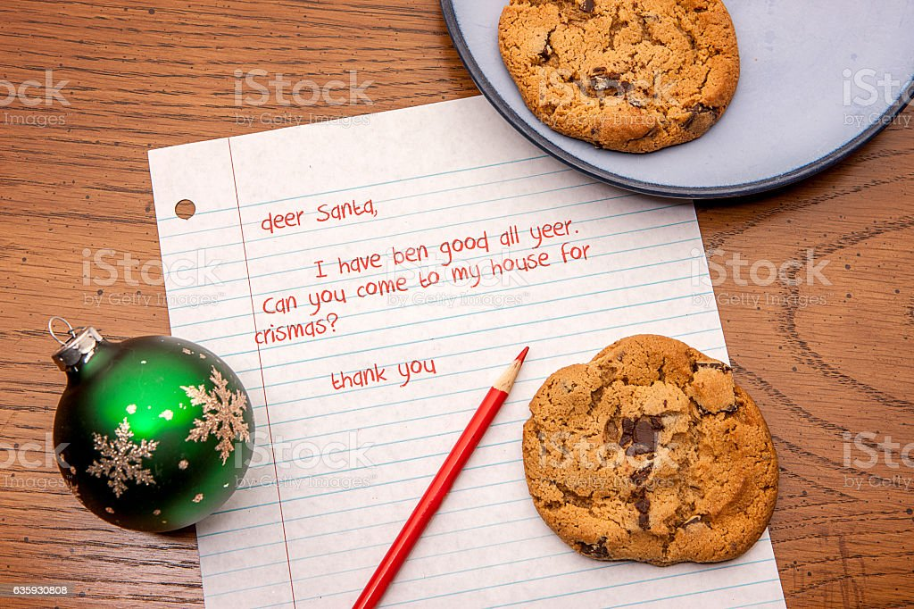 Letter to Santa with cookies. stock photo