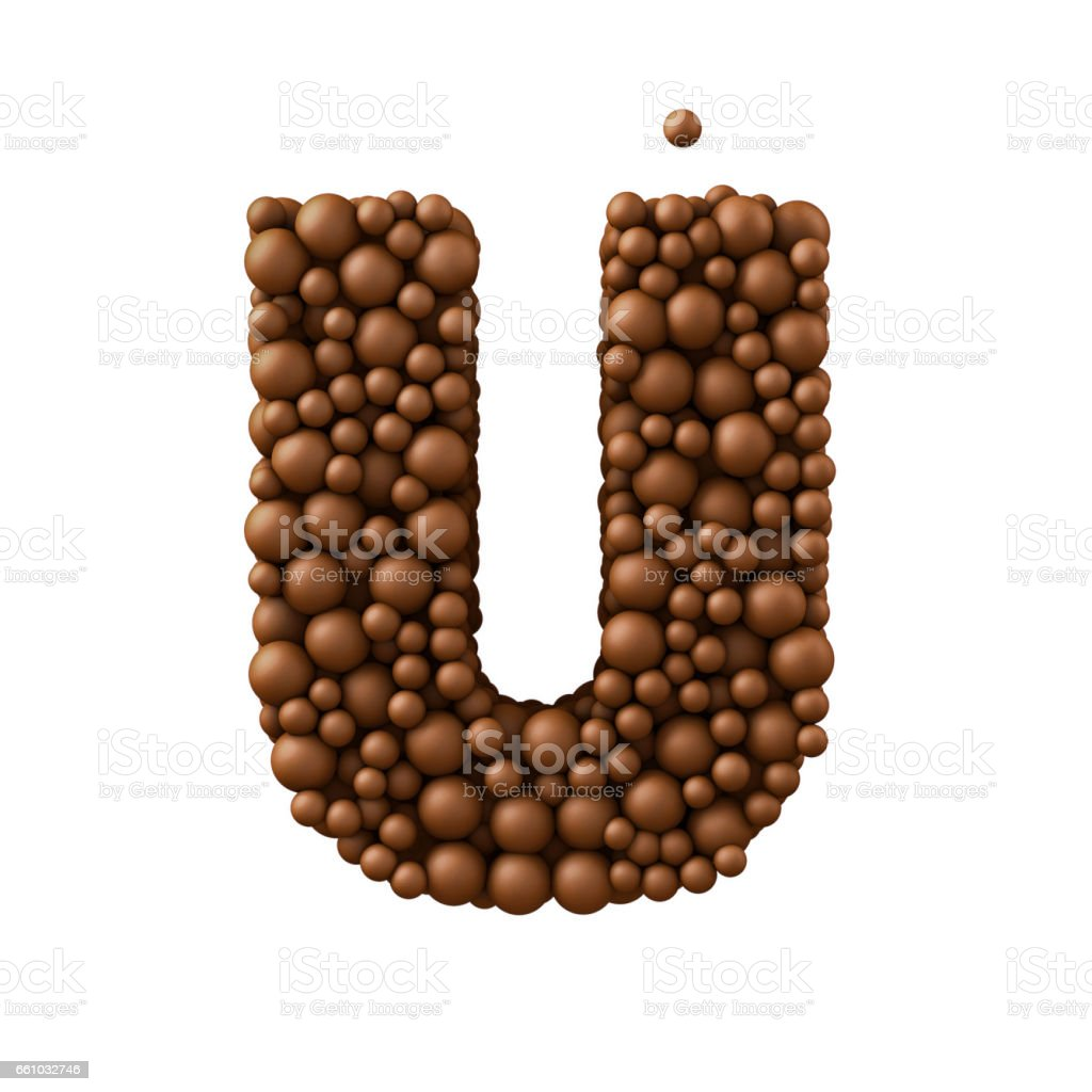 Letter U made of chocolate bubbles, milk chocolate concept, 3d illustration stock photo