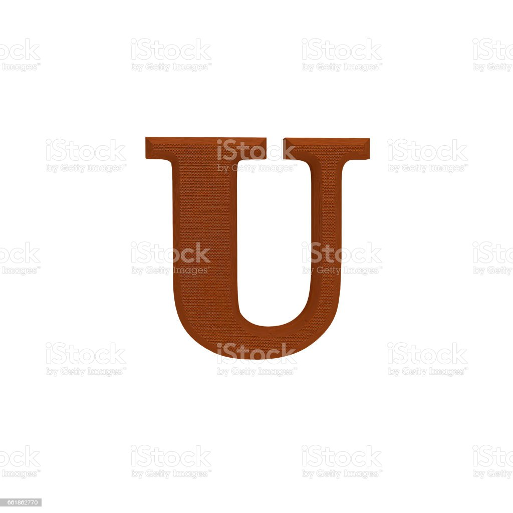 Letter U made of cloth, tissue texture, 3d illustration stock photo